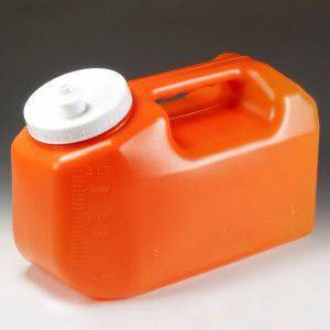 large orange jug for urine collection
